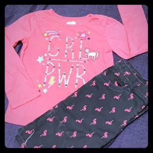 Girls Flamingo shorts and Girl Power shirt